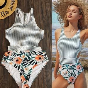 Cupshe floral and stripe one-piece swimsuit Size S